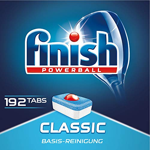 Finish Classic Spülmaschinentabs, phosphatfrei - Geschirrspültabs mit Powerball für die Basis-Reinigung des Geschirrs - Für 3 Monate - Gigapack mit 192 Finish Tabs