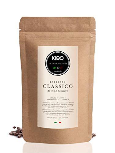 KIQO Classico 500g Espresso aus Italien in schonenden Kleinstchargen geröstet | säurearm | 35% Arabica & 65% Robusta Bohnen (500g - ganze Bohnen)