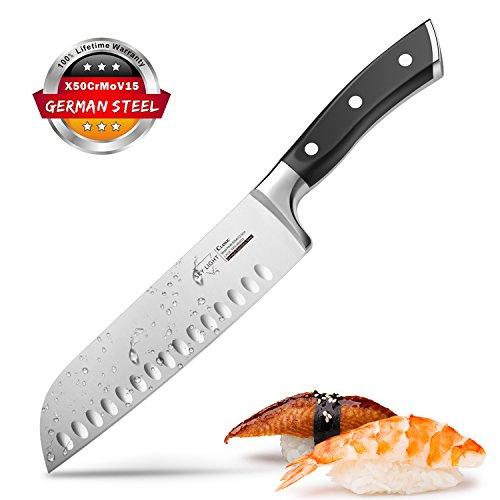 Kochmesser Japanisch Santoku Messer Küchenmesser mit Kullenschliff, extrem Scharf Rostfrei Deutsch Edelstahl Universalmesser 17 cm mit ergonomisch geformter Griff