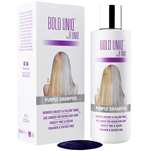 Der SIEGER 2019 - Silbershampoo - Anti-Gelbstich Purple Shampoo für blonde, blondierte, gesträhnte und graue Haar - No Yellow von BOLD UNIQ für Silber- Aschblond-Tönung - ohne Sulfat & Paraben