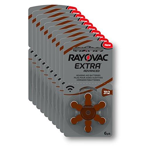 Rayovac Extra Advanced Zink Luft Hörgerätebatterie (in der Größe 312er Frustfrei-Pack, mit 60 Batterien, geeignet für Hörgeräte Hörhilfen Hörverstärker) braun