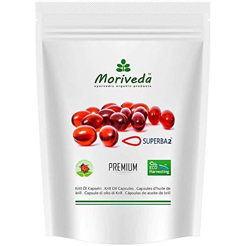 Superba Krillöl Kapseln von MoriVeda (verschiedene Packungsgrößen) - Premium Krill Öl mit Omega 3,6,9, verestertes Astaxanthin, Phospholipide, Choline, Vitamin-E (60 Softgels)