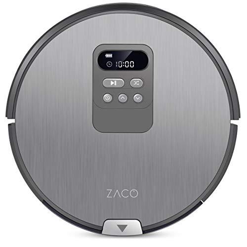 ZACO V80 Saugroboter mit Wischfunktion   intelligente Navigation   8cm flach   für alle Böden   über 2 Stunden Laufzeit   2in1 nass Wischen oder Staubsaugen   automatischer Staubsauger Roboter