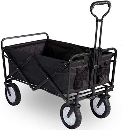 Flieks Bollerwagen Faltbar Handwagen, Transportwagen Klappbar Gartenwagen 360 ¡ã drehbar Picknickwagen Strandwagen belastbar bis 150kg (Schwarz)