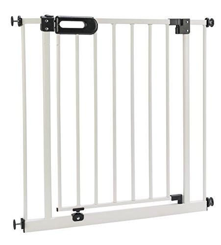 BOMI Kindertreppen Gitter 63-221   Ohne Bohren   90° Stop   Schließt automatisch   Baby Gitter weiss mit Automatik-Tür   Kindertreppenschutzgitter Tür und Treppenschutzgitter zum Klemmen