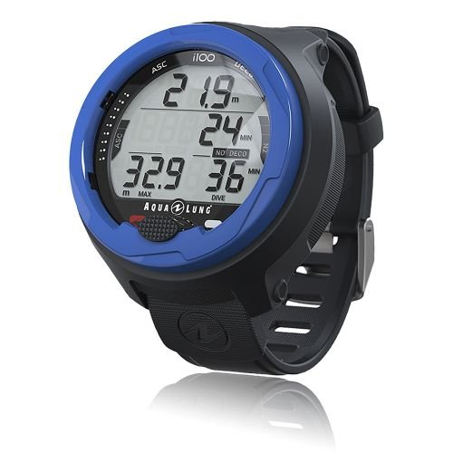 Aqua Lung i100 Tauchcomputer - Armband Taucheruhr mit Air, Nitrox, Gauge und Free Dive Modi (Blau)