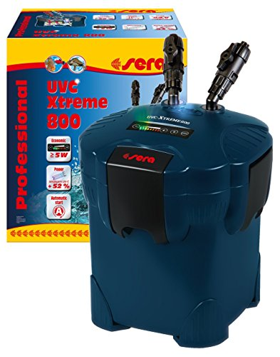 sera UVC-Xtreme 800 - elektronisch steuerbarer Außenfilter für Aquarien bis 800 Liter mit integrierten 5 Watt Amalgam (reduziert Krankheitserreger, Parasiten und Algenwuchs)