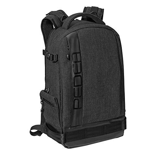 """PEDEA DSLR-Kameratasche """"Fashion"""" Fototasche für Spiegelreflexkameras mit wasserdichtem Regenschutz, Tragegurt und Zubehörfächern (Rucksack, schwarz)"""
