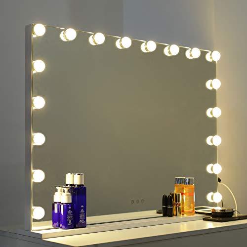 WAYKING Spiegel mit Beleuchtung, Make-up-Spiegel Hollywood Spiegel mit 3 Lichtfarben, USB Ladeanschluss, Touch Steuerung, Großer Kosmetikspiegel mit 18 Lichter, Weiß(L80*H60CM)