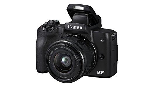 Canon EOS M50 spiegellos Systemkamera (24,1 MP, dreh- und schwenkbares 7,5 cm (3 Zoll) Touchscreen LC-Display, Digic 8, 4K Video, OLED EVF, WLAN, Bluetooth) mit Objektiv EF-M 15-45mm IS STM schwarz
