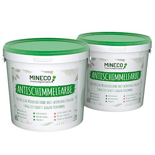 Mineco Antischimmelfarbe 2 m² / Weiß - Natürliche, Ökologische, Chlorfreie, Allergiker-geeignete Schimmelschutzfarbe Schimmelschutz Langzeit-Schutz Gegen Schimmel Flecken