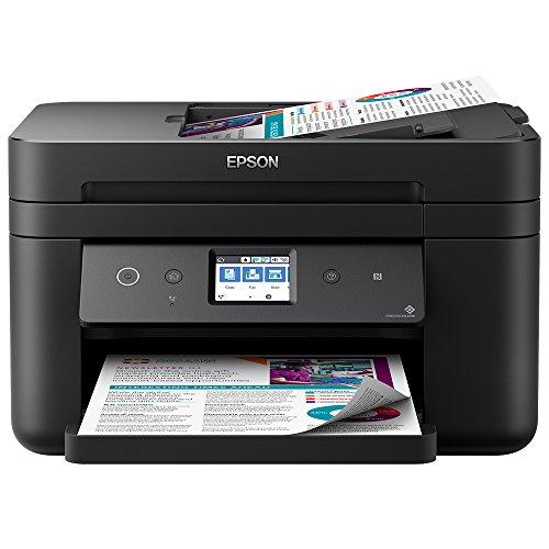 Epson WorkForce WF-2860DWF Tintenstrahl-Multifunktionsgerät Drucker (Scannen, Kopieren, Faxen, ADF, WiFi, Ethernet, NFC, Duplex, Einzelpatronen, DIN A4, Amazon Dash Replenishment-fähig) schwarz