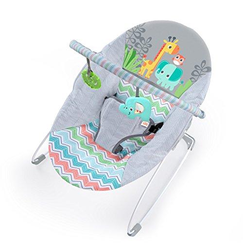 Bright Starts Babywippe, Giggle & See Safari mit beruhigenden Vibrationen, abnehmbarem Spielbogen, 2 Spielzeugen und maschinenwaschbarem Sitzpolster, grau
