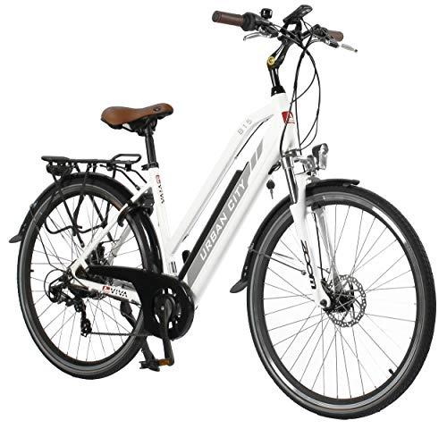 "AsVIVA E-Bike Trekkingrad - 28"" CityBike Tiefeinsteiger B15-D 36V 14,5Ah Samsung Zellen Akku | 7 Gang Shimano Schaltung | sehr starker 250W Heckmotor | Alu Elektrofahrrad Pedelec in weiß grau"