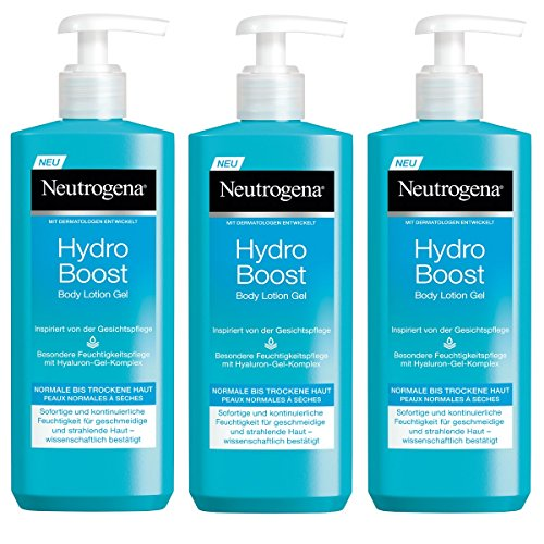 Neutrogena Hydro Boost Body Lotion Gel - Erfrischende und ultra-leichte Body Lotion mit Hyaluron - 3 x 400ml