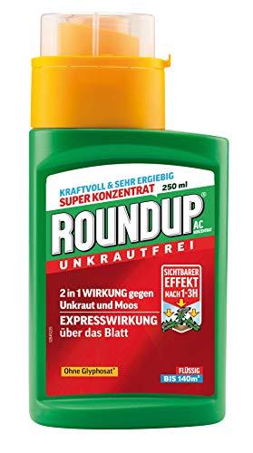 Roundup AC Unkrautvernichter Konzentrat, zum Sprühen, bekämpft Unkräuter, Gräser und Moos, Unkraut Stopp, Unkrautfrei, Ohne Glyphosat, 250 ml