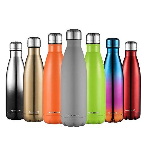 CMXING Doppelwandige Thermosflasche 500 mL / 750 mL mit Tasche BPA-Frei Edelstahl Trinkflasche Vakuum Isolierflasche Sportflasche für Outdoor-Sport Camping Mountainbike (grau, 750 mL)