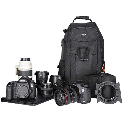 Rollei Fotoliner Fotorucksack L I großer Kamerarucksack I Daypack I inkl. Laptop-Fach,Regenschutz und Handgepäck tauglichen Maßen I Schwarz