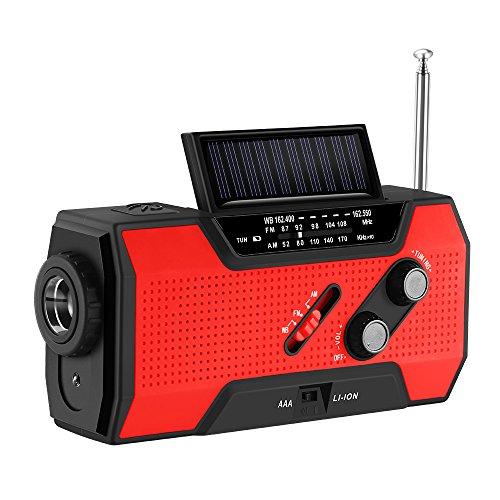 Kurbelradio mit Handyladefunktion Solar, FORNORM Tragbares Notfallradio Powerbank mit Taschenlampe und USB Ladegerät, AM/FM/NOAA, 4 Modi Aufladen, SOS Alarm für Wandern Camping Ourdoor, Rot