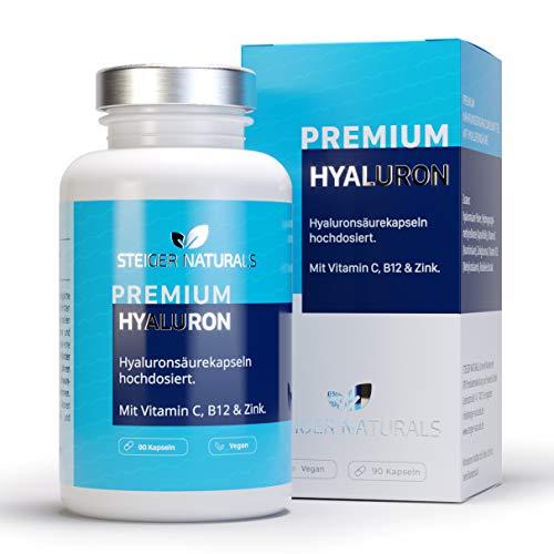 Hyaluronsäure Kapseln - Hochdosiert mit 350 mg. 90 Stück (3 Monate). Mit Vitamin C, B12 und Zink. Hyaluron mit 500-700 kDa. Vegan - Für Haut, Anti-Aging und Gelenke - Hyaloronsäure
