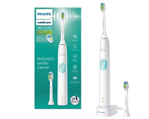 Philips Sonicare ProtectiveClean 4300 elektrische Zahnbürste HX6807/51 - Schallzahnbürste mit Clean-Putzprogamm, Andruckkontrolle & Timer - Weiß