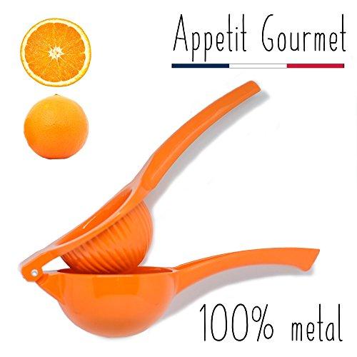 Orangenpresse Appetit Gourmet ® - manuelle Zitruspresse 2 in 1, unzerbrechlich aus Aluminium - Gerät für das Auspressen von Orangen, Grapefruits und großen Zitrusfrüchten - 100% Saft ohne Kerne