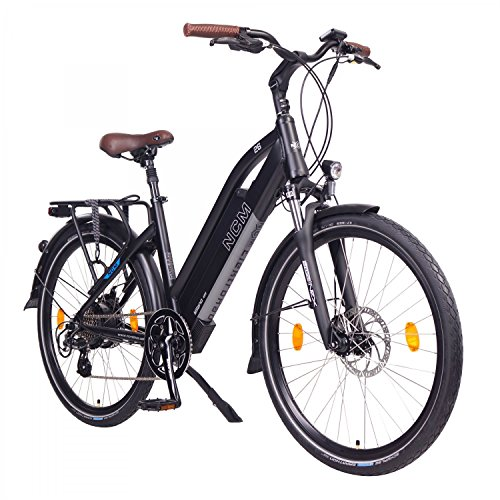 "NCM Milano 48V, 26"" Urban Trekking E-Bike Elektrofahrrad Pedelec, 250W 13Ah 624Wh, weiß, schwarz (Schwarz, 26"")"