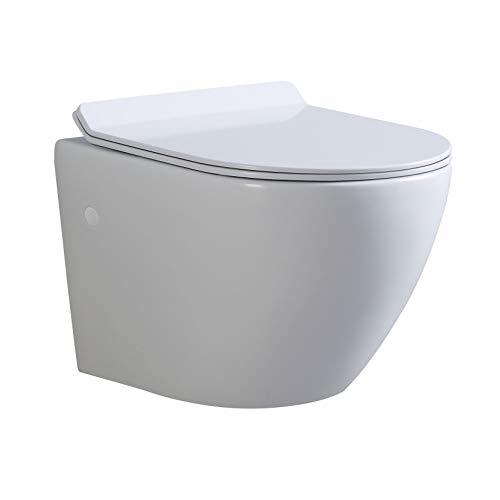 Franco Design Hänge WC spülrandlos Toilette inkl. WC Sitz mit Softclose Absenkautomatik + abnehmbar
