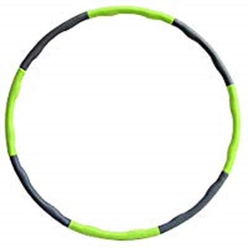 Hula Hoop zur Gewichtsreduktion,Reifen mit Schaumstoff Gewichten Einstellbar Breit 48-88 cm beschwerter Hula-Hoop-Reifen für Fitness (4 Knoten Grün + Grau) mit Mini Bandmaß (Grün)