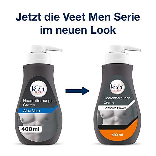 Veet Men Haarentfernungscreme Sensitive - Schnelle & effektive Haarentfernung für Männer in nur 5-10 Minuten - 400 ml Spender mit Spatel