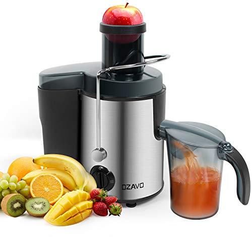 OZAVO Entsafter, Zentrifugaler Entsafter für Gemüse und Obst, Juicer Extractor, 2 Geschwindigkeiten, Saftauffangbehälter und Fruchtfleischbehälter, BPA frei