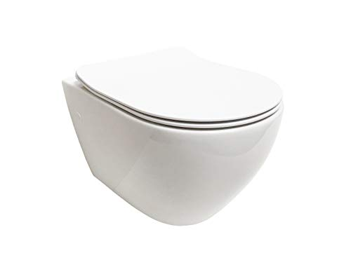 ADOB, spülrandlose wandhängende WC Keramik Hänge WC Toilette mit passendem WC Sitz mit Absenkautomatik, inkl. Schallschutzmatte,28023