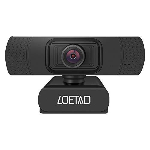 LOETAD Webcam, 1080P Full HD PC Kamera mit Mikrofon USB für Video Chat Streaming Kompatibel mit Windows Mac OS Android (Verpackung MEHRWEG)