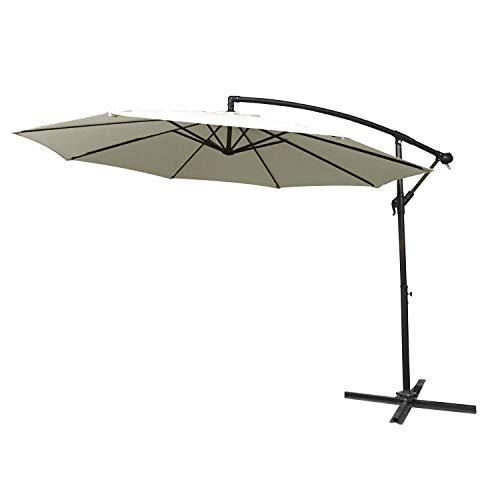 Aufun Alu Sonnenschirme 350cm mit kurbel UV Schutz 40+ - Beige balkonschirm gartenschirm höhenverstellbarer (Beige)