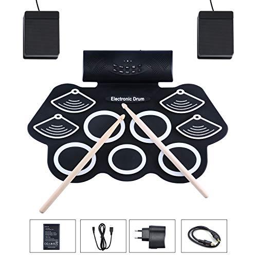 AsmuseTM Drum Elektronisches Schlagzeug Kit 9 Pads Tragbare Roll Up Midi Tabletop E-Drum Schlagzeug Set mit Eingebautem Lautsprecher Drum Fußpedal Drumsticks für Kinder Anfänger