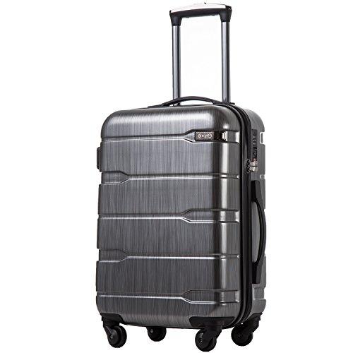 COOLIFE Koffer Reisekoffer Vergrößerbares Gepäck (Nur Großer Koffer Erweiterbar) PC + ABS Material mit TSA-Schloss und 4 Rollen(Silbergrau, Handgepäck)
