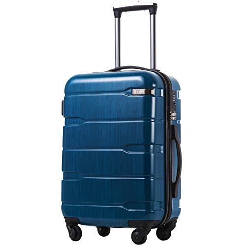 COOLIFE Koffer Reisekoffer Vergrößerbares Gepäck (Nur Großer Koffer Erweiterbar) PC + ABS Material mit TSA-Schloss und 4 Rollen(Caribbean Blue, Großer Koffer)