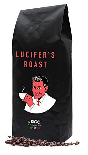 LUCIFER'S ROAST Espresso by KIQO aus Italien - 1kg - extrem starker Kaffee - säurearm - 100% Robusta - Manufakturröstung in Kleinstchargen (1000g - ganze Bohnen)