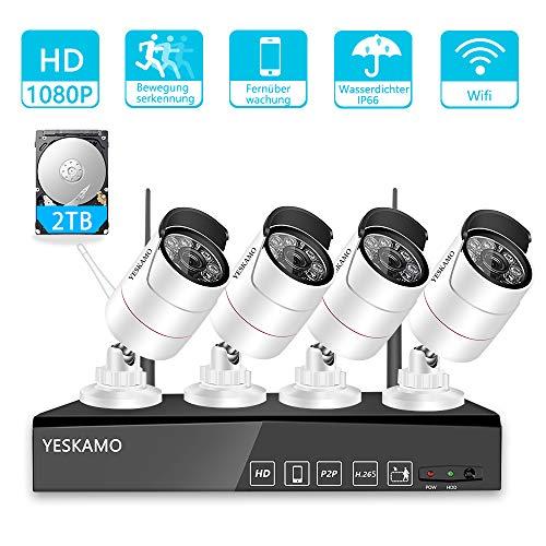 YESKAMO Überwachungskamera Aussen Wlan Set 1080P 8 Kanal NVR Recorder Überwachungssystem mit 4 x HD Kabellos IP Kameras Set 2TB Festplatte H.265 für die Aufnahme, 30M IR Nachtsicht, Bewegungserkennung