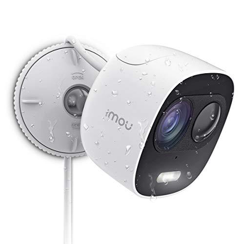 Überwachungskamera Aussen 1080P 110db Sirene & Licht Alarm, IP WLAN Kamera Wasserdicht, funktioniert mit Alexa, Gegensprechfunktion Bewegungserkennung Nachtsicht