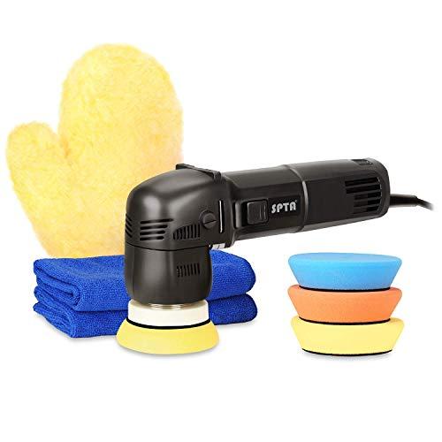 SPTA 10mm 75mm 780W Exzenter Poliermaschine Excenter Schleifmaschine Auto Polierer mit Polierschwamm Polierschwämme Polierteller Tasche für Auto KFZ Boot
