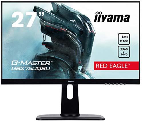 iiyama G-MASTER Red Eagle GB2760HSU-B1 68,6 cm (27 Zoll) Gaming Monitor Full-HD 144Hz (HDMI, DisplayPort, USB 2.0, 1ms Reaktionszeit, FreeSync, Höhenverstellung, Pivot) schwarz