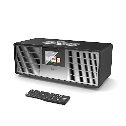 MAJORITY Sidney Internetradios 25W Wi-Fi WLAN Verbindung, DAB/DAB+/FM Digital-Radio, Bluetooth, Fernbedienung, USB Eingang/Aufladen, Aux-in, Dual Wecker und Einstellungen (Schwarz)