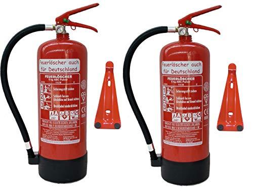 2 x 6 kg ABC Pulver Feuerlöscher NEU Orginalverpackt Brandklasse ABC, EN3, 34 A, 183 B, C = 10 LE, Messingarmatur + Sicherheitsventil + Manometer + Wandhalter + Standfuß, Pulverlöscher