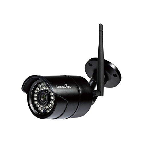 Wansview WLAN IP Kamera, Überwachungskamera 1080P HD für Außen mit LAN und WLAN Verbindung, Outdoor WiFi IP66 Wasserdichte Sicherheitskamera, Infrarot Nachtsicht, Deutsche App, Anleitung W2 Schwarz