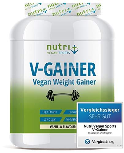 WEIGHT & MASS GAINER Vegan - V-GAINER - Vanille 2 kg - Masseaufbau & Zunehmen - ohne Maltodextrin & Zucker - Carbs & Protein 2000g - laktosefrei - hergestellt in Deutschland