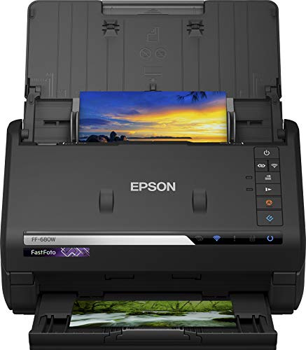 Epson FastFoto FF-680W Scanner (Scannt 10 x 15 Foto in einer Sekunde, bis DIN A4, beidseitiger Scan, automatische Ausrichtung, Zuschnitt und Optimierung, Bilder einfach speichern)