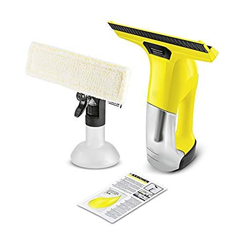 Kärcher Akku-Fenstersauger WV 6 Plus (Extra lange Akkulaufzeit: 100 min, wechselbare Absaugdüse, Sprühflasche mit Mikrofaserbezug, Fensterreiniger-Konzentrat 20 ml, ohne Sonderzubehör)