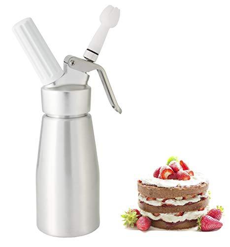 noscobar Sahnespender 250ml   Schlagsahne und Cremes für Desserts und Gebäck   Profi-Küchenhelfer   inklusive 3 Deko-Tüllen