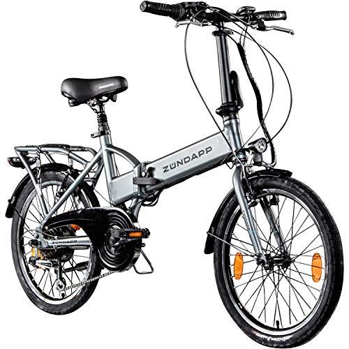Zündapp Faltrad E-Bike 20 Zoll Z101 Klapprad Pedelec StVZO Elektrofaltrad 6 Gang (Silber)